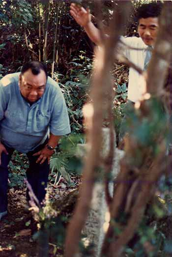 Dr. Ernesto De Pedro at the burial site of Lord Takayama Ukon's finger.