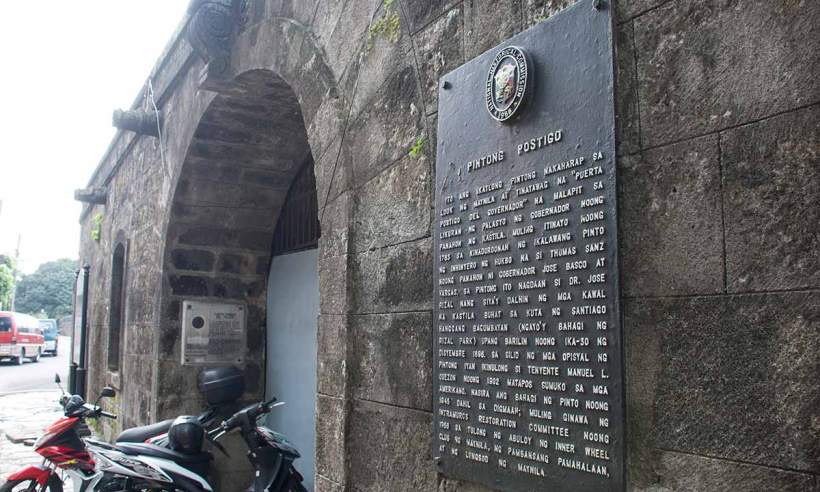 Pintong Postigo marker at the Postigo Gate in Intramuros, Manila.