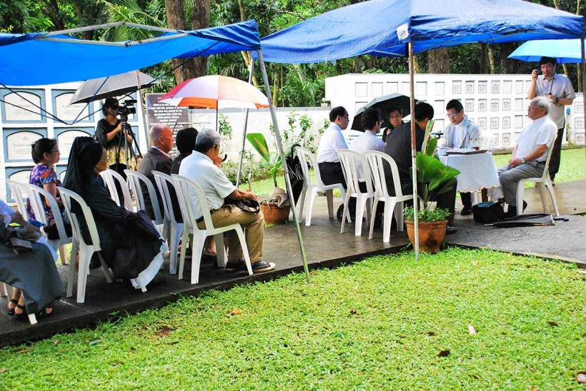 Mass on June 13, 2012 at the Jesuit Cemetery at the Sacred Heart Noviate in Novalichez, Quezon City.