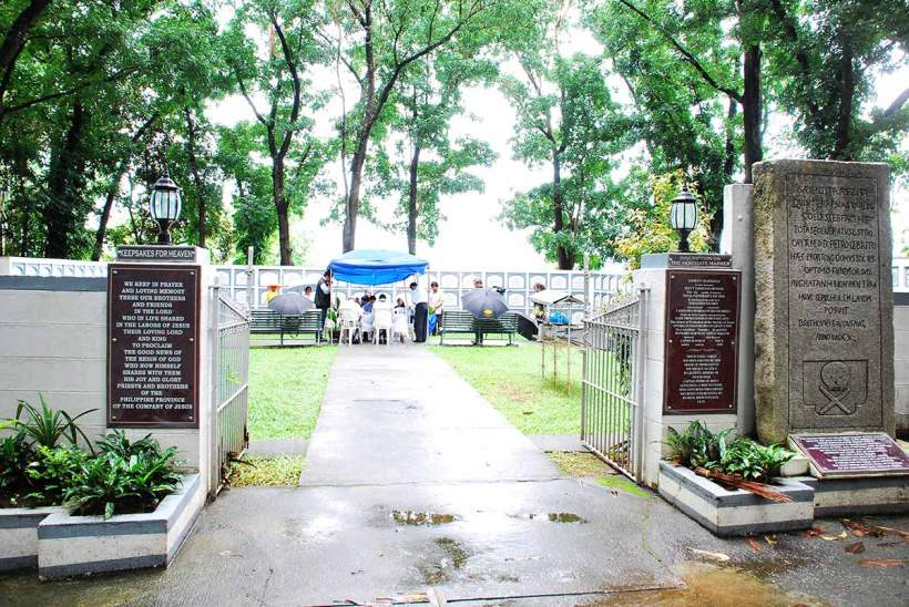 Entrance to the Jesuit Cemetery at the Sacred Heart Noviate in Novalichez, Quezon City.