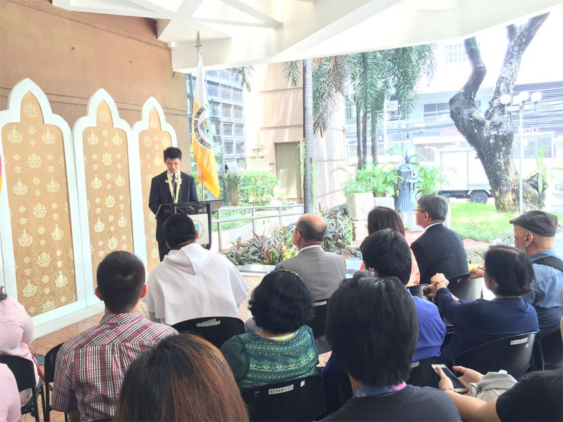 Director Nakamura delivering his speech.