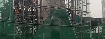 Takayama statue is wrapped in industrial tape