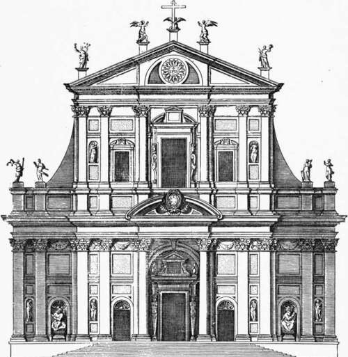 "The Santa Ana Church (1590) was a look-alike of the Jesuit mother-church in Rome – ""Il Gesù Church"" (1551). Conceived by St. Ignatius de Loyola, the founder of the Society of Jesus, its facade is ""the first truly baroque façade,"" introducing the baroque style into architecture. ""Il Gesù Church"" served as model for innumerable Jesuit churches all over the world."